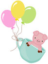 Cute pig in teacup with balloons