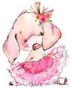 Cute pig watercolor illustration Royalty Free Stock Photo