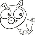 Cute piggy for coloring book Stock Image