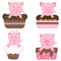 Cute pigs on cakes Royalty Free Stock Photo