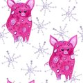 Cute pigs and snowflakes watercolor seamless pattern on white background