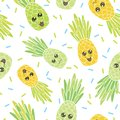 Cute pineapple faces seamless repeat pattern