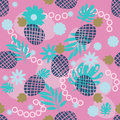 Cute pineapple and tropical leaves seamless pattern. Festive colorful summer fruit random background.