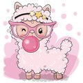 Cute pink alpaca with bubble gum