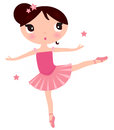Cute pink ballerina girl beautiful little vector cartoon illustration Stock Photo