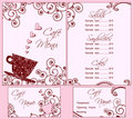 Cute Pink Cafe Menu and Business Card Templates Royalty Free Stock Photography