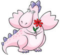 Cute pink dragon with flower Stock Photos
