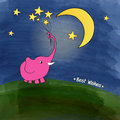 Cute pink elephant with a bouquet of stars illustration Royalty Free Stock Photo