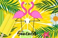 Cute Pink Flamingo Summer Background Vector Illustration Royalty Free Stock Photo