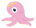 Cute pink Octopus isolated on white Stock Photos