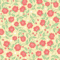 Cute pink roses pattern with on a yellow background Stock Image