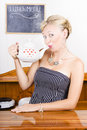 Girl In Cafe Serving Hot Coffee With Heart Teapot Royalty Free Stock Photo