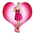 Cute Pinup Woman On Love Heart Symbol Background Stock Photos