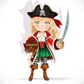 Cute pirate girl with cutlass and treasure chest on a white background Royalty Free Stock Photo