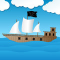 Cute pirate ship sailing on the ocean vector illustration of a Royalty Free Stock Photos