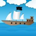 Cute pirate ship sailing on the ocean