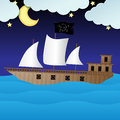 Cute pirate ship vector illustration of ocean moon stars clouds and blue sky Stock Photo