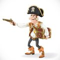 Cute pirate take aim a pistol and cuddle chest on white background Stock Photos