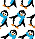 Cute pixel art vector seamless pattern: pixel art colorful penguins; design can be used as a background for wallpaper, wrapping p