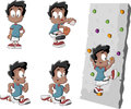Cute playful cartoon black boy playing baseball running and climbing a wall Royalty Free Stock Image