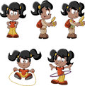 Cute playful cartoon black girl in explorer outfit skipping rope and with hula hoop Stock Image