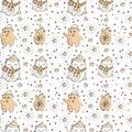 Cute polar bear seamless winter pattern