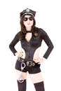 Cute police woman posing with sunglasses Royalty Free Stock Images