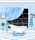 Cute Powder-Blue Bathroom With Vintage Claw Foot Bathtub Royalty Free Stock Photo