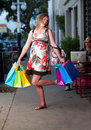 Cute pregnant woman shopping Royalty Free Stock Photos