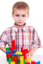 Cute preschool boy play wood block colorful Royalty Free Stock Photography