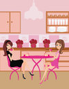 Cute pretty girls in coffee break