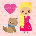 Cute princess with cat pet. Girl in long pink dress. Vector illustration in kawaii style