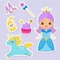 Cute princess stickers. fairy tale girl, unicorn, fashion accessories set. For children design
