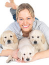 Cute puppies and young cute female model Royalty Free Stock Image