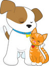 Cute Puppy and Cat Royalty Free Stock Photo