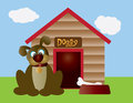 Cute Puppy Dog with Dog House Illustration Royalty Free Stock Photography