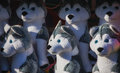 Cute puppy prizes midway game dog tempt children at the local county fair Stock Image