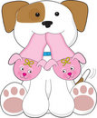 Cute Puppy Slippers Stock Image