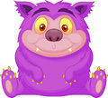 Cute purple monster cartoon illustration of Stock Photography