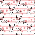 Cute rabbit with bow face pattern