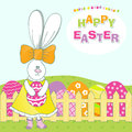 Cute rabbit with easter egg happy Royalty Free Stock Images