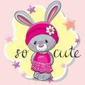 Cute Rabbit Girl On A Pink Bac...