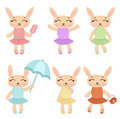 Cute rabbit girls Royalty Free Stock Images