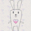 Cute rabbit handdrawn with hearts Stock Photo