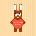Cute rabbit with valentine card vector Royalty Free Stock Image