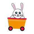 Cute rabbit in wagon train