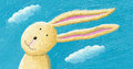 Cute rabbit in the wind acrylic illustration of Royalty Free Stock Photos