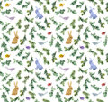 Cute rabbits, birds, branches christmas tree. Seamless pattern. Watercolor Royalty Free Stock Photo