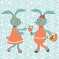 Cute rabbits couple on a geometric background Royalty Free Stock Image