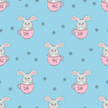 Cute rabbits in cups seamless pattern